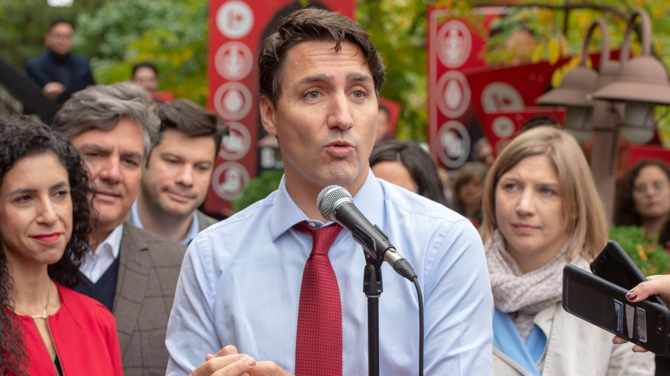 Liberal leader Justin Trudeau speaks to the media Thursday, October 3, 2019 in Montreal, Quebec.THE CANADIAN PRESS/Ryan Remiorz
