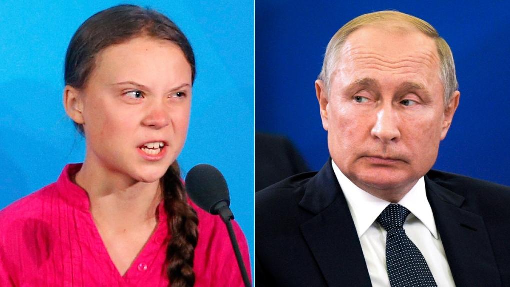 Greta Thunberg, left, and Vladimir Putin