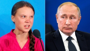 Environmental activist Greta Thunberg, left, and Russian President Vladimir Putin are seen in this composite image. (Jason DeCrow / Alexei Druzhinin, Sputnik, Kremlin Pool Photo / AP)