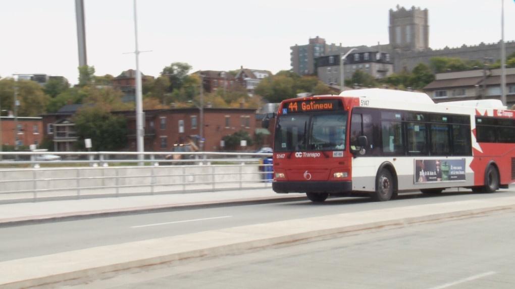 Gatineau-bound OC Transpo bus at Pimisi station