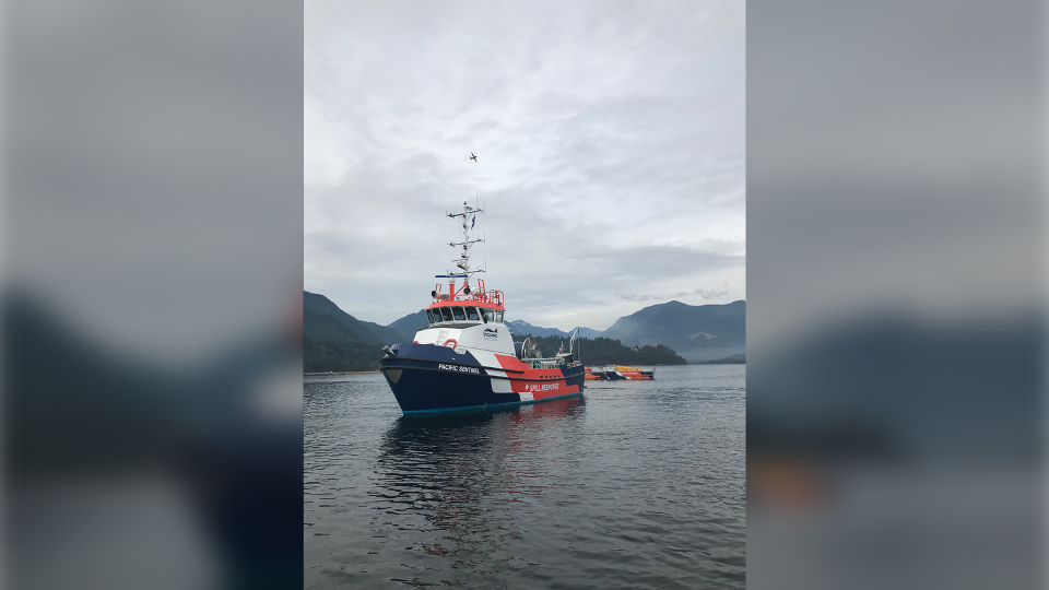 Responders in Howe Sound where a tugboat sank on Tuesday. Photo: B.C. Environmental Protection and Sustainability