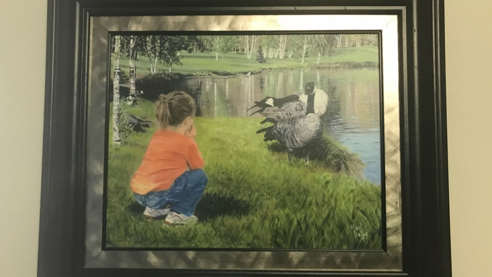 Marjorie Dagg is looking for the subject of her painting—a young girl she photographed at Hawrelak Park in 2003.