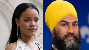On the left of this composite image is singer Rihanna at Christian Dior's Spring-Summer 2017 in Paris in a Sept. 30, 2016 file photo (AP Photo/Thibault Camus, File); on the right is NDP leader Jagmeet Singh seen during a campaign speech in Sherbrooke, Que. on Sunday, September 15, 2019. (THE CANADIAN PRESS/Adrian Wyld)