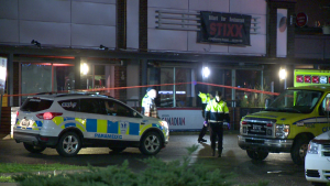 Police and ambulances responded to the Stixx pool hall after three people were stabbed Oct. 4, 2019.
