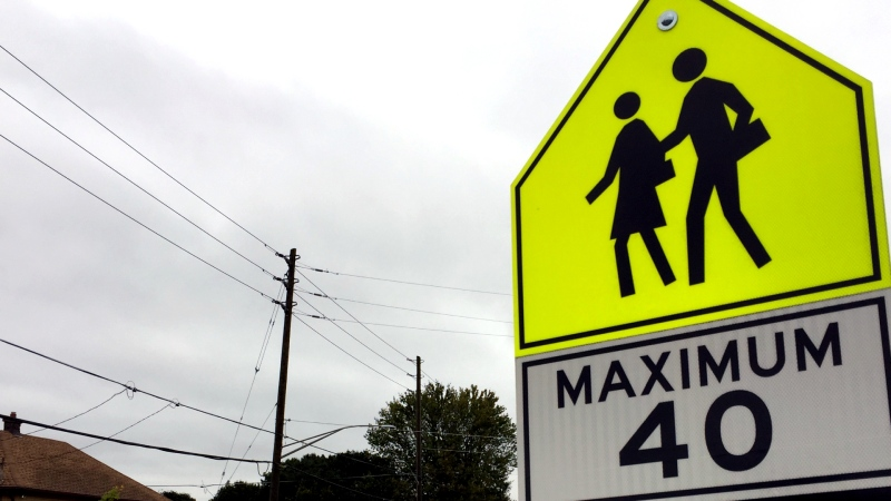 A speed limit sign is seen in a school zone in this undated file image. (Bryan Bicknell / CTV London)