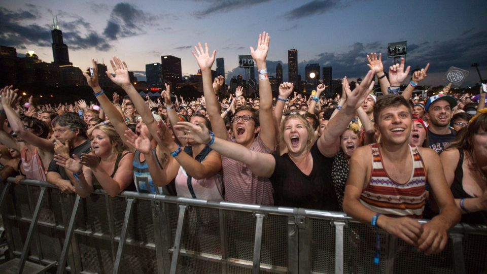 Concertgoers at the Lollapalooza Festival