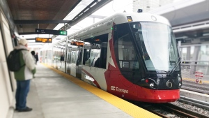 A train approaches the platform at Hurdman Station along the Confederation Line of Ottawa's LRT system. (CTV News Ottawa)