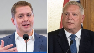 Conservative Leader Andrew Scheer and Ontario Premier Doug Ford are shown in this composite photo.