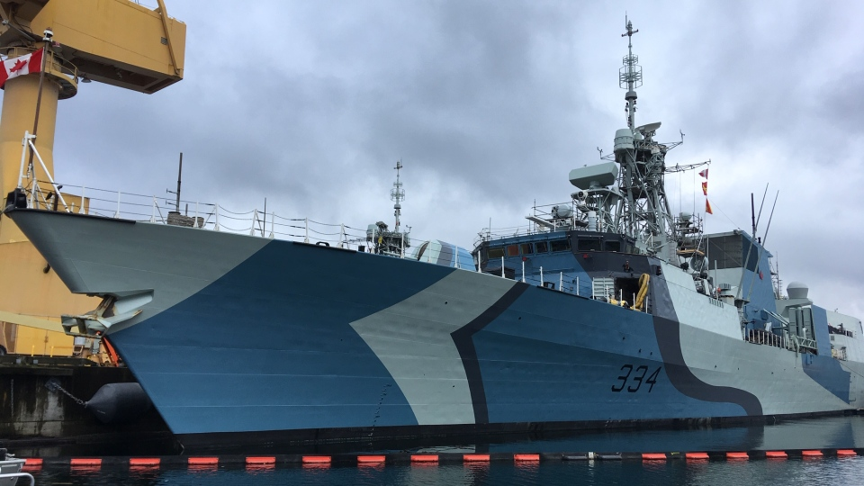 Canadian frigate HMCS Regina in Victoria, B.C., in October 2019. (CTV News)
