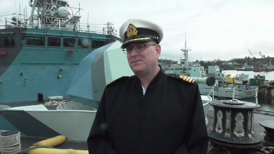 Cmdr. Landon Creasy with HMCS Regina in Esquimalt on Friday, Oct. 4, 2019. (CTV Vancouver Island)