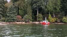 Crews respond after a tug sank off the coast of Gibsons, B.C. Photo: Canadian Coast Guard