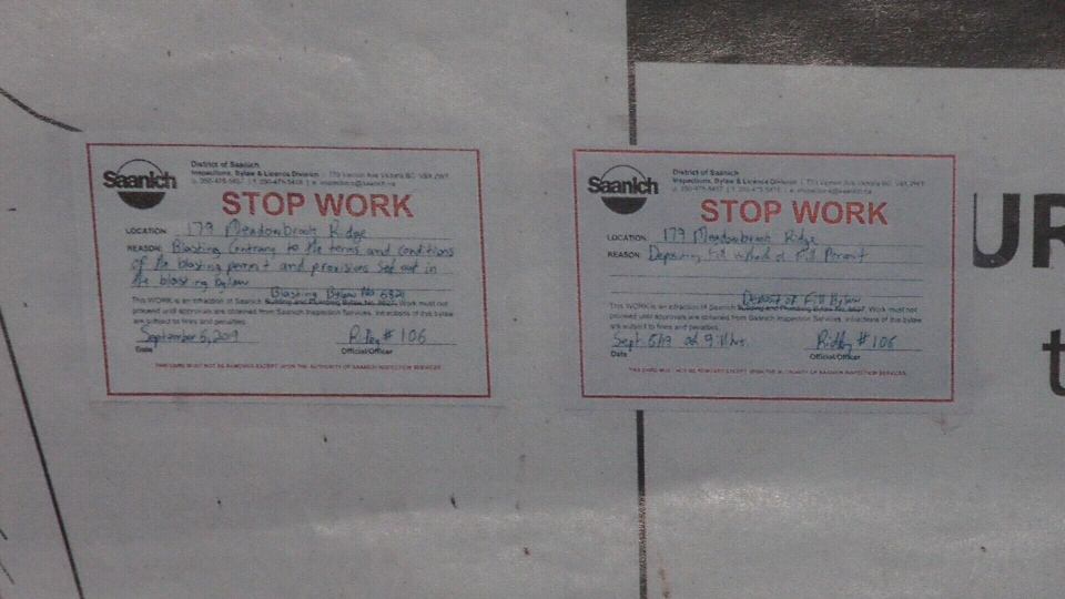 Stop-work orders posted on the property. (CTV Vancouver Island)