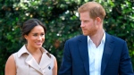 In this Wednesday Oct. 2, 2019 file photo, Harry and Meghan, Duchess of Sussex arrive at the Creative Industries and Business Reception at the British High Commissioner's residence, in Johannesburg, where they will meet with representatives of the British and South African business communities. (Dominic Lipinski/Pool via AP, File)