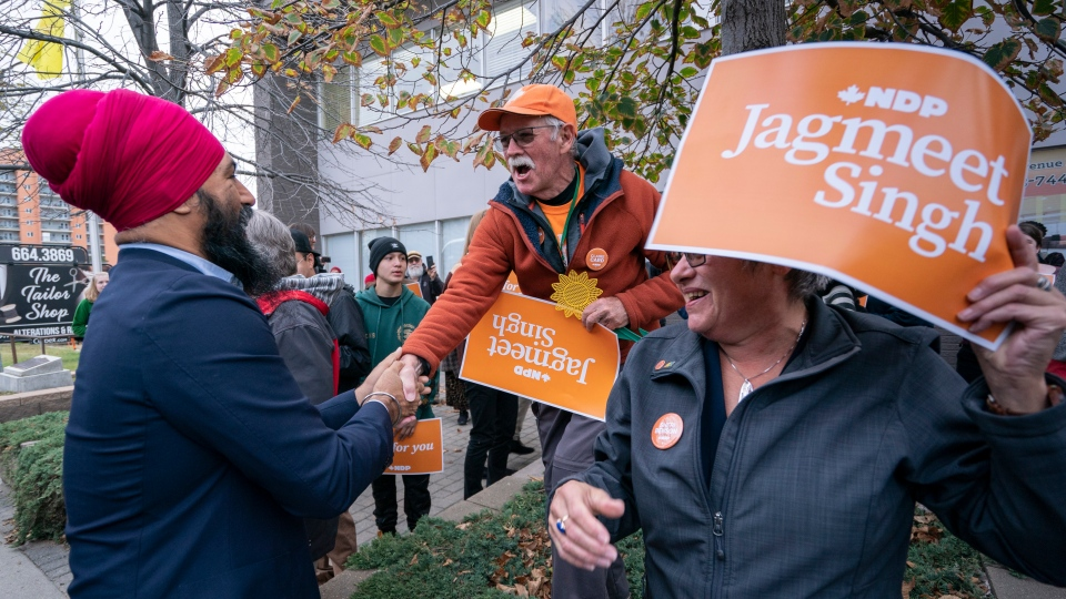 NDP Leader Jagmeet Singh greets a supporter as he arrives for a rally in Saskatoon on Friday, October 4, 2019. THE CANADIAN PRESS/Paul Chiasson
