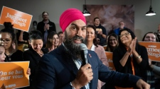 NDP Leader Jagmeet Singh addresses supporters during a rally in Thunder Bay, Ont., Friday, Oct. 4, 2019. THE CANADIAN PRESS/Paul Chiasson