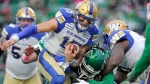 Winnipeg Blue Bombers quarterback Chris Streveler (17) scrambles during first half CFL action against the Saskatchewan Roughriders, in Regina on Saturday, Oct. 5, 2019. THE CANADIAN PRESS/Mark Taylor