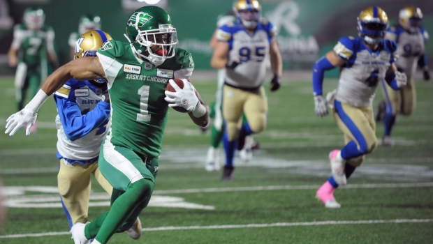 Saskatchewan Roughriders wide receiver Shaq Evans runs in a touchdown pass during second half CFL action against the Winnipeg Blue Bombers, in Regina on Saturday, Oct. 5, 2019. THE CANADIAN PRESS/Mark Taylor