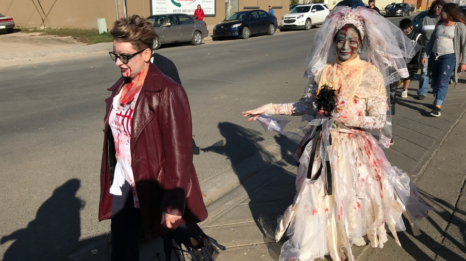 Participants take part in the reanimated Regina Zombie Walk on Oct. 6, 2019. (Stefanie Davis/CTV Regina)