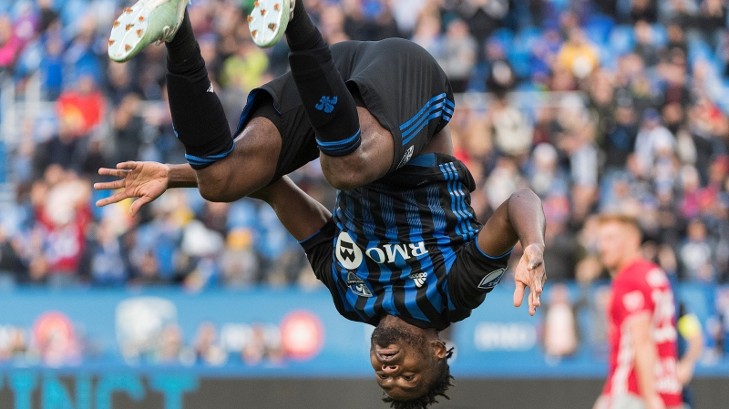 Montreal Impact's Orji Okwonkwo celebrates after scoring during second half MLS soccer action against the New York Red Bulls, in Montreal, Sunday, Oct. 6, 2019. THE CANADIAN PRESS/Graham Hughes