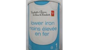 President's Choice: Lower Iron milk based powdered infant formula – 900 g. (CFIA)