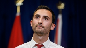 Ontario's minister of education Stephen Lecce speaks during a press conference to announce a tentative deal reached with CUPE in Toronto, Sunday, Oct. 6, 2019. THE CANADIAN PRESS/ Cole Burston