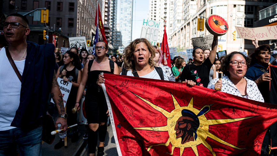 First Nations and Indigenous people lead a climate protest in Toronto on Friday, Sept. 27, 2019. (THE CANADIAN PRESS / Christopher Katsarov)