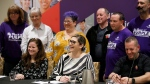 Laura Walton, president of OSBCU, speaks alongside the bargaining committee to announce a tentative deal reached with CUPE and the Ontario provincial government in Toronto, Sunday, Oct. 6, 2019. THE CANADIAN PRESS/ Cole Burston