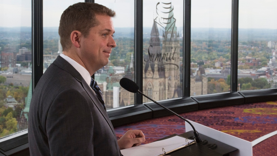 Conservative leader Andrew Scheer gives a morning announcement during a campaign stop in Ottawa, Monday, Oct. 7, 2019. THE CANADIAN PRESS/Jonathan Hayward