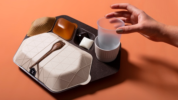 This in-flight meal tray was designed to be biodegradable