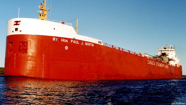 CSL ship RT. Hon.Paul.J. Martin grounded in St.Lawrence River