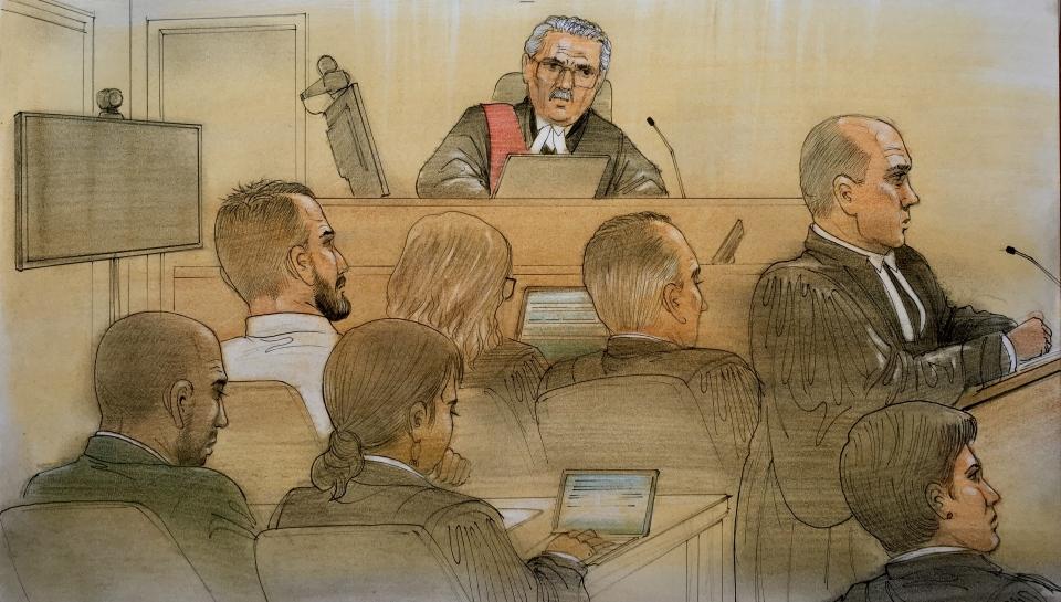Gavin Macmillan and Enzo DeJesus Carracco appear in court on Oct. 7, 2019. (John Mantha)