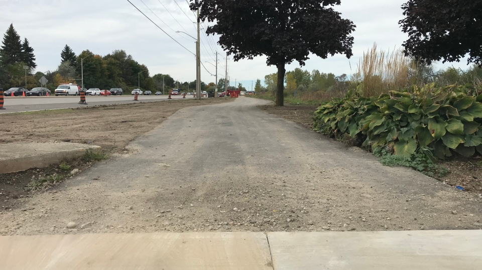 A multi-use trail nears completion on Homer Watson Boulevard. The road has seen lanes reduced since April. (Dan Lauckner / CTV Kitchener)