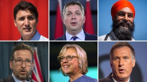 Liberal Leader Justin Trudeau, Conservative Leader Andrew Scheer, NDP Leader Jagmeet Singh, Bloc Quebecois Leader Yves-Francois Blanchet, Green Party Leader Elizabeth May, and PPC Leader Maxime Bernier are seen in this composite image. (THE CANADIAN PRESS)
