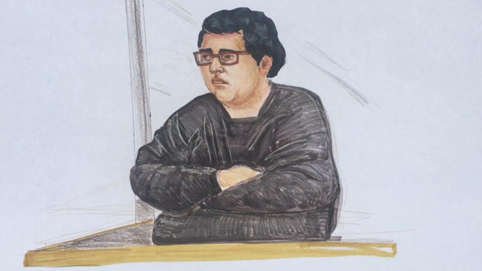 Gabriel Klein is shown in a court sketch on Oct. 7, 2019.