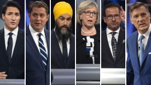 Justin Trudeau, Andrew Scheer, Jagmeet Singh, Elizabeth May, Yves-Francois Blanchet and Maxime Bernier are pictured in this composite image.