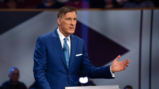 People's Party of Canada leader Maxime Bernier speaks during the Federal leaders debate in Gatineau, Que. on Monday, Oct. 7, 2019. THE CANADIAN PRESS/Sean Kilpatrick