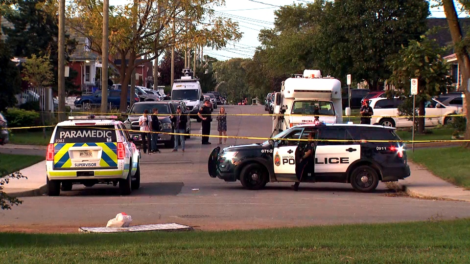 The scene of a fatal stabbing outside of a Hamilton, Ont. high school is seen. (CTV News Toronto)