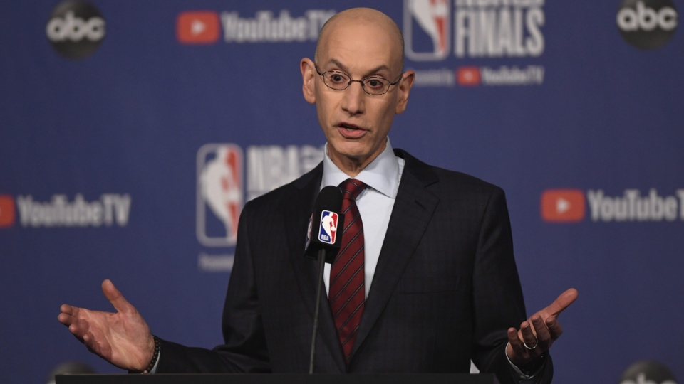NBA Commissioner Adam Silver holds a news conference in Toronto, on May 30, 2019. (Frank Gunn / The Canadian Press via AP)