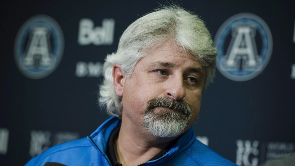 Toronto Argonauts' general manager Jim Popp speaks to media at the Argo practice facility in Toronto, on November 29, 2017. (Christopher Katsarov /THE CANADIAN PRESS)