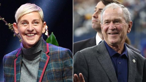 Ellen DeGeneres and George W. Bush
