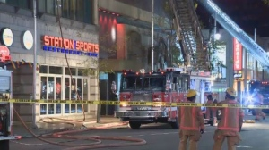 There was a fire in the building housing the Station des Sports bar on Ste. Catherine St. E.