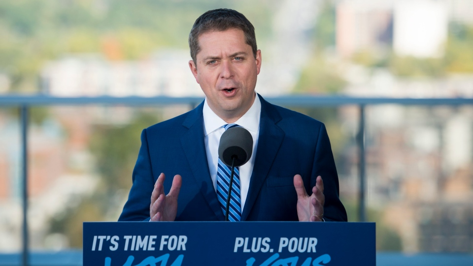 Conservative leader Andrew Scheer makes his morning announcement during a campaign stop in Markham, Ont. Tuesday, October 8, 2019. THE CANADIAN PRESS/Jonathan Hayward