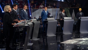 Green Party leader Elizabeth May, left, responds to a question as Liberal leader Justin Trudeau, left to right, Conservative leader Andrew Scheer, People's Party of Canada leader Maxime Bernier, Bloc Quebecois leader Yves-Francois Blanchet and NDP leader Jagmeet Singh look on during the Federal leaders debate in Gatineau, Que. on Monday, October 7, 2019. THE CANADIAN PRESS/Sean Kilpatrick