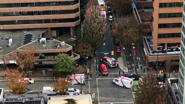 A witness took this photo of a rollover crash in downtown Vancouver on Oct. 8, 2019. Photo: Kyle Scott