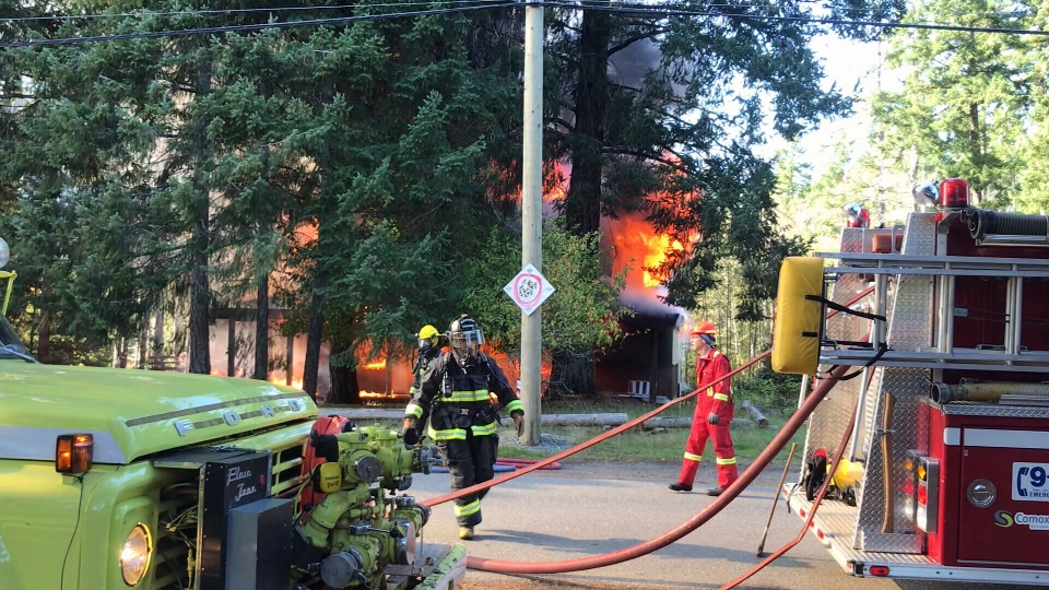 The cause of the fire is still unknown and Mounties were attending the scene Tuesday. (CTV Vancouver island)