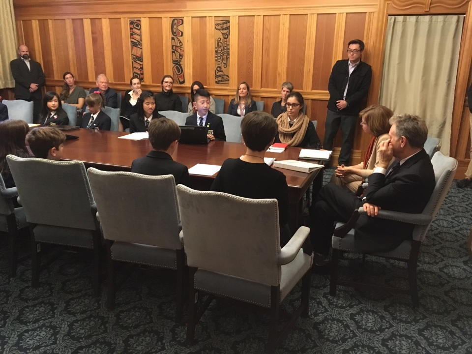 Environmental activists from Kids for a Plastic Free Canada, Surfrider Foundation of Vancouver Island and the University of Victoria's (UVic) Environmental Law Centre meet with Environment Minister George Heyman: Oct. 8, 2019 (CTV News)