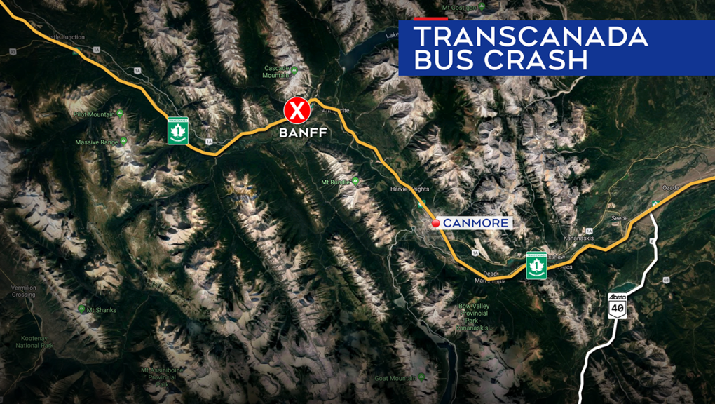 13 people injured in a bus crash near Banff early Tuesday evening