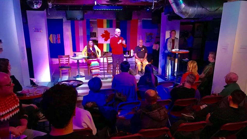 LGBTQ2+ debate at the Evolution Wonderlounge. Katherine Swampy (left), Randy Boissonnault (center), Michael Kalmonovich (right). Tuesday Oct. 08, 2019 (CTV News Edmonton)