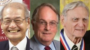 From left: Akira Yoshino, Dr. M. Stanley Whittingham and Dr. John Goodenough are seen in a composite image.  (Charles Dharapak / Yoshiaki Sakamoto / Kyodo News / Binghamton University)