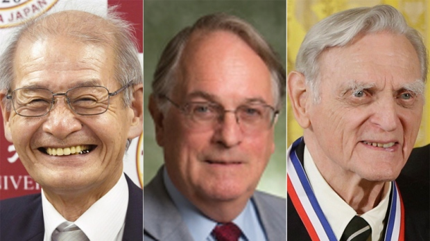 Pemenang Nobel Kimia 2019, kika: Akira Yoshino dari Jepang,  Stanley Whittingham dari Inggris, dan John Goodenough dari AS. (Kredit: Charles Dharapak / Yoshiaki Sakamoto / Kyodo News / Binghamton University, via https://www.ctvnews.ca/sci-tech/nobel-prize-awarded-to-inventors-of-lithium-ion-batteries-1.4630473)